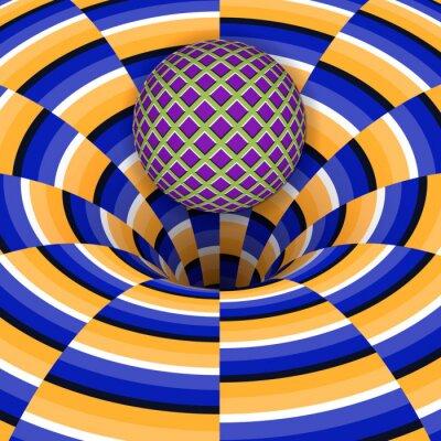 Наклейка Оптическая иллюзия шара падает в яму. Абстрактный фон.