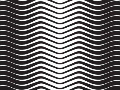 Наклейка световой волны абстрактный фон полосатый черно-белый