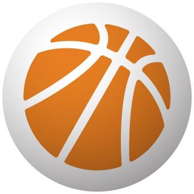 Наклейка Оранжевый баскетбол значок на сфере, изолированных на белом фоне