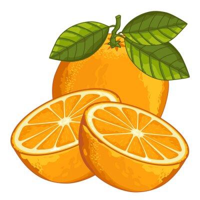Наклейка Оранжевый Изолированные на белом фоне.