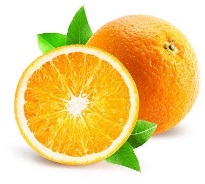 Наклейка оранжевый с половиной оранжевый, изолированных на белом фоне