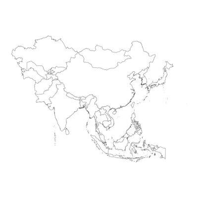 Наклейка План по чистой фоне азиатского континента