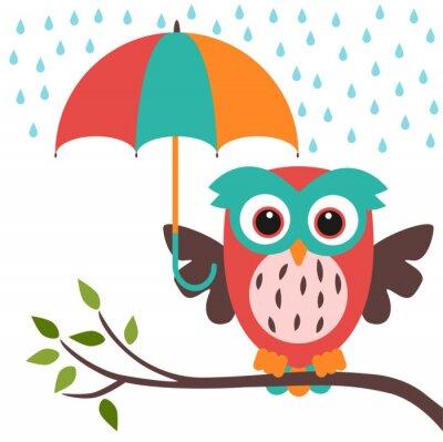 Наклейка сова и зонтик дождь