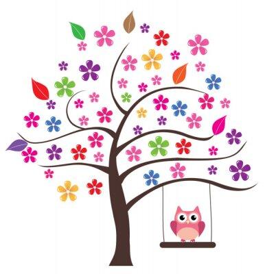 Наклейка Сова в дерево