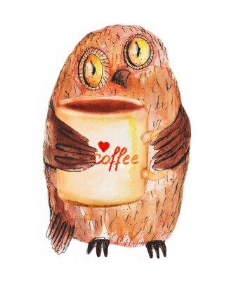 Наклейка Сова с чашкой кофе. Акварель рука рисунок