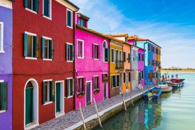 Наклейка Окрашенные дома Бурано, в Венецианской лагуне, Италия.