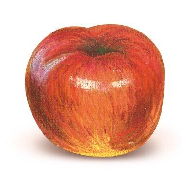 Наклейка Окрашенный красное яблоко с отсечения путь