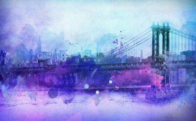 Наклейка Живописной Вид Нью-Йорка Манхэттенского моста и реки