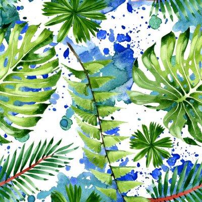 Наклейка Palm beach tree leaves jungle botanical. Watercolor background illustration set. Seamless background pattern.