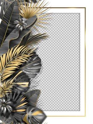 Наклейка Palm leaves and luxurious frame in black gold color. Tropical leaf illustration on transparent background. Vector illustration for cover, photo frame, invitation, souvenir design.