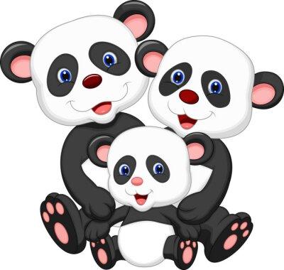 Наклейка Панда медведь семьи мультфильм