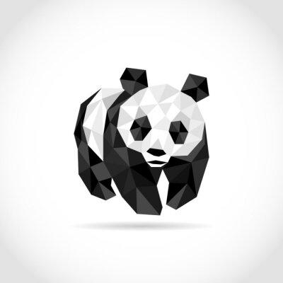 Наклейка панды в стиле Polygon. низкополигональная дизайн в треугольники