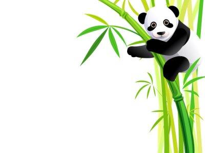 Наклейка панда на бамбука