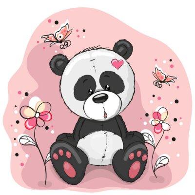 Наклейка Панда с цветами