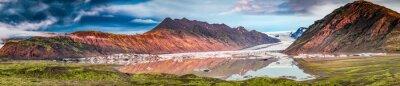 Наклейка Панорама красивого ледника и озера на рассвете в Исландии
