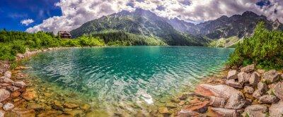 Наклейка Панорама озера в горах Татры на рассвете