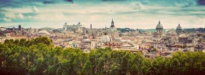 Наклейка Панорама древнего города Рима, Италия. Сбор винограда