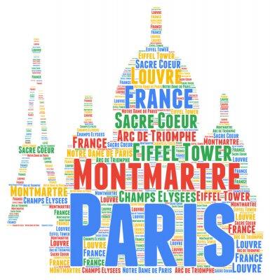 Наклейка Париж слово облако