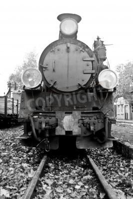 Наклейка часть старого паровоза в черно-белом