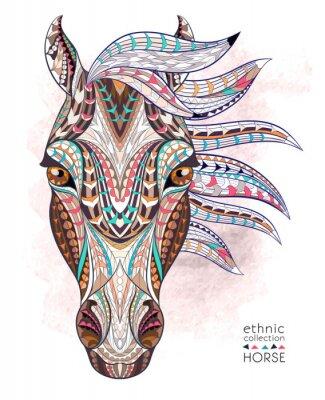 Наклейка Узором голова лошади на фоне гранж. Африканский / индийский дизайн / тотем / татуировки. Он может быть использован для дизайна футболки, сумки, открытки, плакат и так далее.