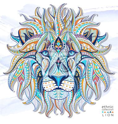 Наклейка Узором голова льва на фоне гранж. Африканский / индийский дизайн / тотем / татуировки. Он может быть использован для дизайна футболки, сумки, открытки, плакат и так далее.