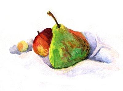 Наклейка груша и яблоко, акварель