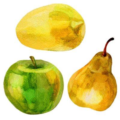 Наклейка Груша, банан рисованной акварель иллюстрации живопись на белом фоне