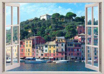 Наклейка Окно пера старого Портофино, Италия