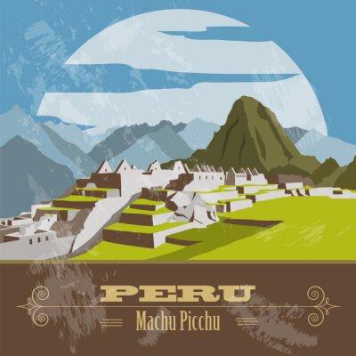 Наклейка Достопримечательности Перу. Ретро стиль изображения.