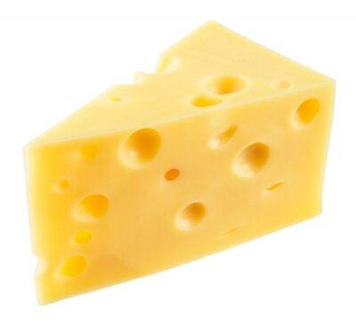 Наклейка Кусок сыра изолирован. С отсечения путь.