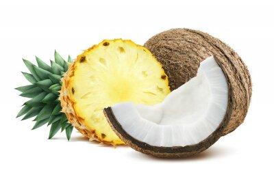 Наклейка Ананас кокосовые частей композиции 1 на белом backgro