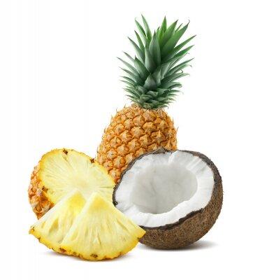 Наклейка Ананас кокосовые частей композиции 4 изолированных на белом backgro