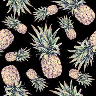 Наклейка Ананасы на черном фоне. Акварели красочные иллюстрации. Тропический фрукт. Бесшовные