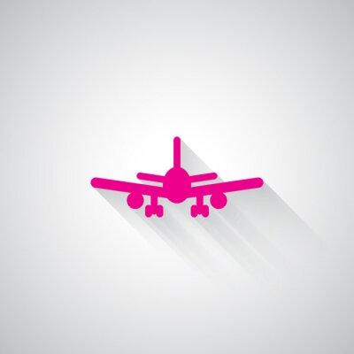 Наклейка Розовый Самолет веб значок на светло-сером фоне