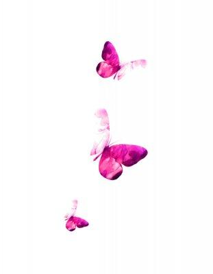 Наклейка Pink flying butterflies in watercolor. Mixed media. Vector illustration