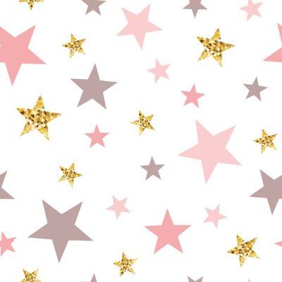 Наклейка Pink seamless pattern gold glitter stars pink for Christmas backgound or baby shower sweet girl design