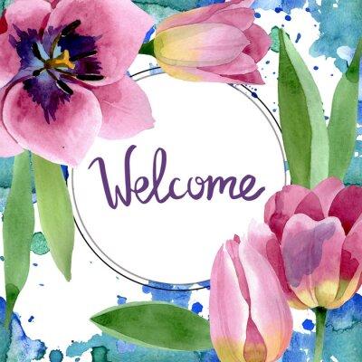 Наклейка Pink tulips floral botanical flowers. Watercolor background illustration set. Frame border ornament square.