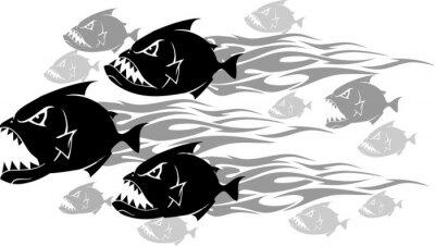 Наклейка Piranha Feeding Frenzy