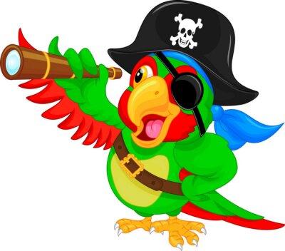 Наклейка пиратский попугай мультфильм
