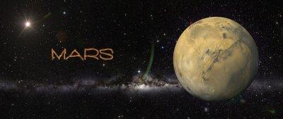 Наклейка Планета Марс в космическом пространстве.