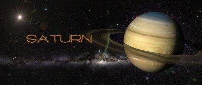 Наклейка Планета Сатурн в космическом пространстве.