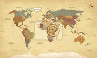 Наклейка Planisphere Mappemonde Vintage - Textes ан français. Vecteur