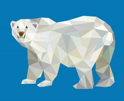 Наклейка Полярный медведь низкополигональная вектор