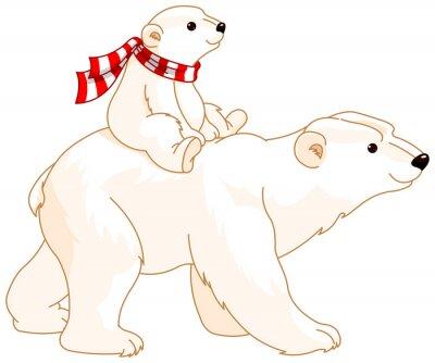 Наклейка Белый медведь мамы и ребенка