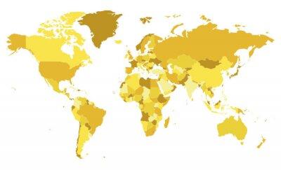 Наклейка Политические пустой Всемирной карты векторные иллюстрации с различными тонами желтый для каждой страны. Редактируемые и четко обозначенные слои.