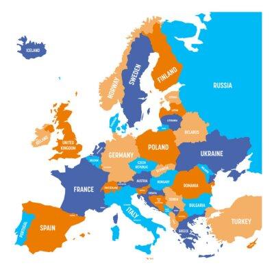 Наклейка Политическая карта континента Европы в четырех цветах с белыми названиями названий стран и изолирован на белом фоне. Векторные иллюстрации.