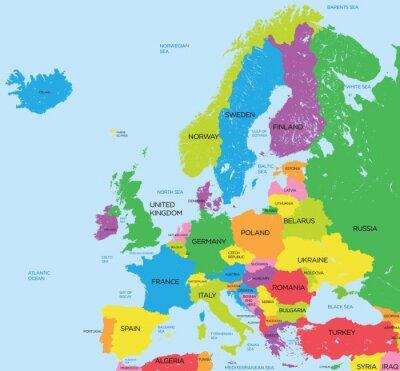 Наклейка Политическая карта Европы высокой детализацией