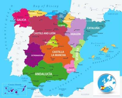 Наклейка Political map of Spain