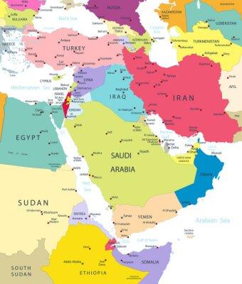 Наклейка Политическая карта Ближнего Востока и Азии, изолированных на белом