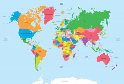 Наклейка Политическая карта мира вектор